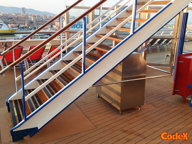 cruise ship corner guards stairs