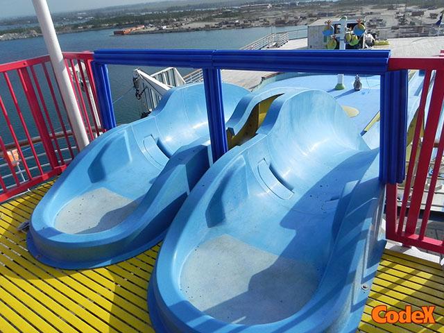 Cruise ship slides protective paddings